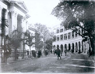 Beaconsfield House - Beaconsfield Arcade, Hong Kong, c.1890. The building on the left is the HSBC building (second design)