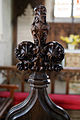 Beauchamp Roding - St Botolph's Church - Essex England - chancel choir stall poppyhead 2.jpg