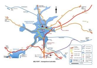 carte présentant les transports et zones d'activités principales de l'agglomération belfortaine
