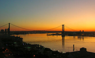 Benjamin Franklin Bridge - Ben Franklin Bridge at sunrise