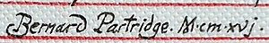 Bernard Partridge - Bernard Partridge's signature, 1916