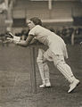 Betty Snowball as the wicketkeeper, reaching for the oncoming ball, English women's cricket team, tour of Australia and New Zealand 1934-35.jpg