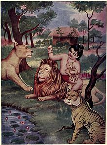 Bharat plays with lion cubs.jpg