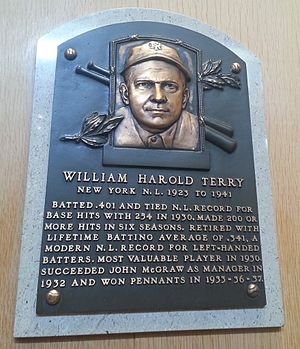 Bill Terry - Plaque of Bill Terry at the Baseball Hall of Fame