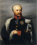 Painting shows a stern-looking man with white hair and a moustache. He wears a dark blue uniform with a silver epaulette. There is an Iron Cross at his neck and a Star of the Grand Cross of the Iron Cross on his left breast.