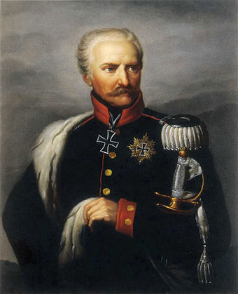 Gebhard Leberecht von Blucher, who had led one of the coalition armies defeating Napoleon at the Battle of Leipzig, commanded the Prussian army Blucher (nach Gebauer).jpg