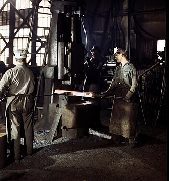 Steam hammer - A single-frame steam drop hammer in use at the Atchison, Topeka and Santa Fe Railway shops in Topeka, Kansas, 1943