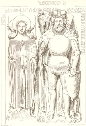 Bolko III of Strzelce - Tombstone of Bolko III and his wife Anna.