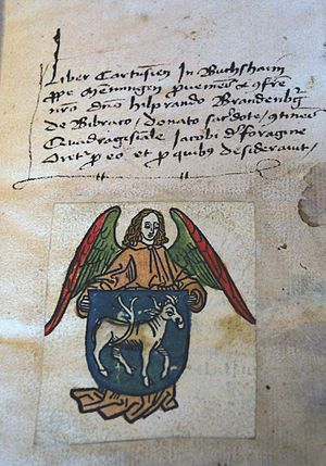 Bookplate - Bookplate for Hilprand Brandenburg of Biberach, woodcut, black printing ink, and hand coloring on paper (Germany, 1480). Bookplate is in Jacobus de Voragine's Sermones quadragesimales (Bopfingen, Württemberg, 1408)
