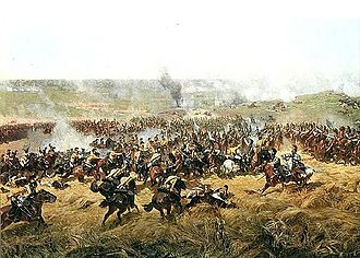 IV Cavalry Corps (Grande Armée) - Yellow-coated Saxons at left attacking Russian cuirassiers at Borodino.