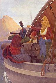 H Μπουμπουλίνα στο πλοίο «Αγαμέμνων», πίνακας του Γερμανού ζωγράφου Peter von Hess