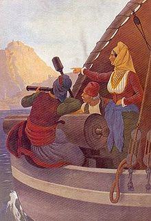 Tableau représentant Laskarina Bouboulina avec deux hommes près du canon d'un bateau, par Von Hess