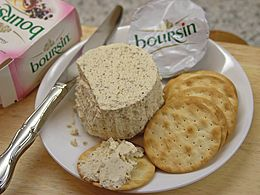 Boursin cheese with English biscuits