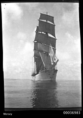 Bow view of three-masted training ship MERSEY, 1908-1915 (11786442456).jpg