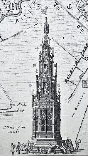 Coventry Cross - Tudor Coventry Cross as shown on Bradford's Map 1748/9