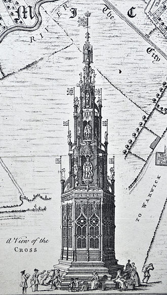 Coventry Cross - Tudor Coventry Cross as shown on Bradford's Map 1748/9