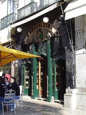Café A Brasileira - Exterior façade of A Brasileira, with ornamental door and boilerplate