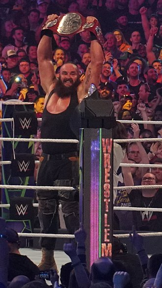 Braun Strowman - Strowman after winning the Raw Tag Team Championship at WrestleMania 34 in April 2018