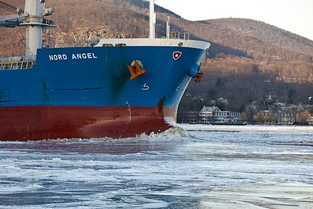 The bulk carrier Nord Angel breaking ice on the Hudson Breaking The Ice On The Hudson River With United States Coast Guard Cutter Hawser -y.jpg