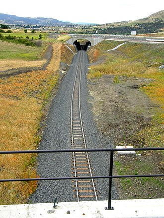 South Line, Tasmania - The South Line, travelling north under the newly completed Brighton Bypass.