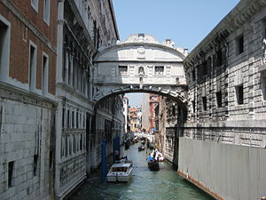 The Bridge of Sighs in Venice, Italy.