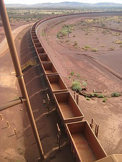 Empty train stretching into the distance, awaiting iron ore