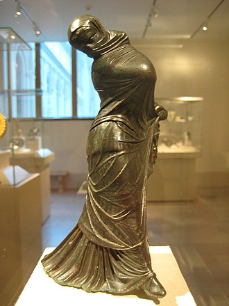 Veil - Greek bronze statuette of a veiled and masked dancer, 2nd–3rd century BC.