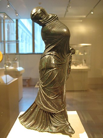 Greek bronze statuette of a veiled and masked dancer, 2nd–3rd century BC. Bronze Statuette of a Veiled and Masked Dancer 1.jpg