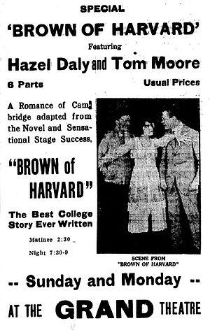 Brown of Harvard (1918 film) - Newspaper advertisement.