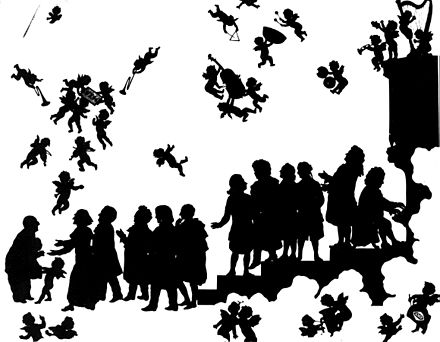 """Anton Bruckner arrives in Heaven"". Bruckner is greeted by (from left to right): Liszt, Wagner, Schubert, Schumann, Weber, Mozart, Beethoven, Gluck, Haydn, Handel, Bach. (Silhouette drawing by Otto Bohler) Bruckner arrives in heaven.jpg"