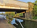 Brunel's road, canal and rail bridge (Three Bridges).jpg