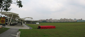Buangkok MRT Station - Panoramic view of undeveloped land beside Buangkok MRT Station. In the distant background lies the northern part of Hougang New Town.