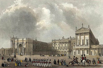 Buckingham Palace - The palace c. 1837, depicting the Marble Arch, which served as the ceremonial entrance to the Palace precincts. It was moved to make way for the east wing, built in 1847, which enclosed the quadrangle.
