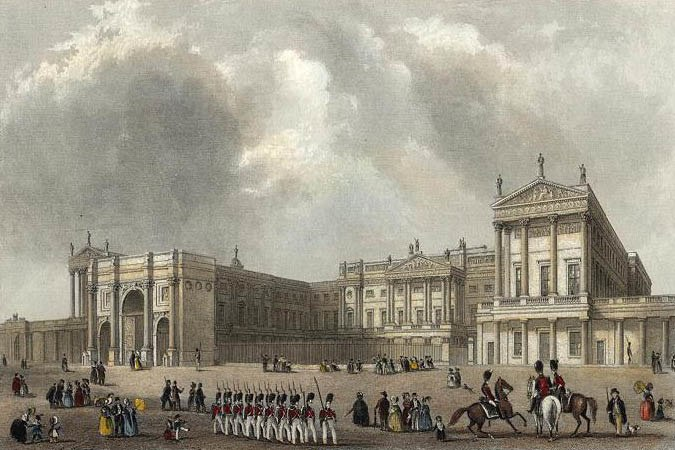 Buckingham Palace engraved by J.Woods after Hablot Browne %26 R.Garland publ 1837 edited