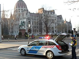 Crime in Hungary - Hungarian police in Budapest.