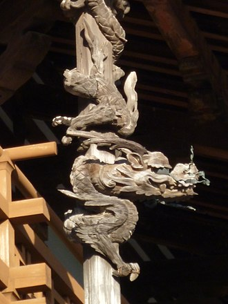 Hōryū-ji - Closer look of wooden carving in Buddhist Monuments in the Hōryū-ji Area.