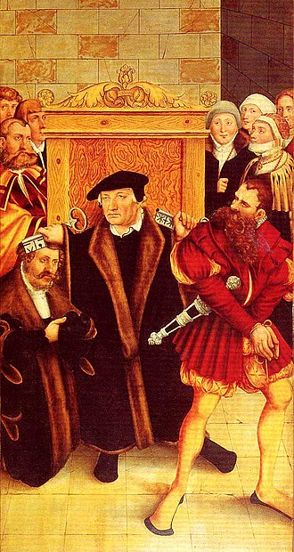 University of Greifswald - Johannes Bugenhagen during a sermon (part of an altar triptych in Wittenberg's church).