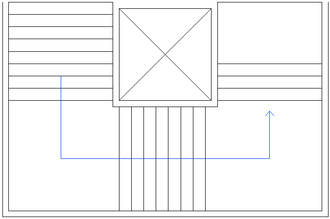 """Core (architecture) - Simple core arrangement - stairs """"wrapping around"""" elevator shaft."""