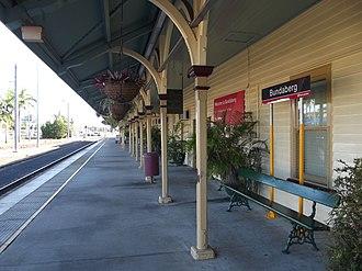 Bundaberg railway station - Northbound view from Platform 1 in July 2012