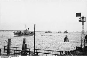 Vorpostenboot - VP-Boat flotilla leaving a Dutch port during World War II