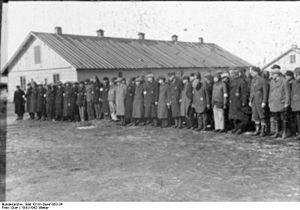Salaspils concentration camp - Prisoner roll call at KZ Salaspils, December 22, 1941 (Nazi propaganda photo).