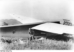 Battle of Crete - A Fallschirmjäger and a DFS 230 glider in Crete