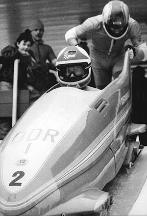 Dietmar Schauerhammer - Schauerhammer (rear, pushing sled) in 1985.