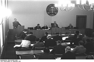 Chamber of States - A Session of the Länderkammer in 1958. The Minister of the Interior Karl Maron is speaking.