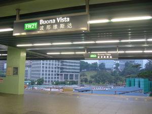 Buona Vista MRT Station - East West Line Platforms at the station.