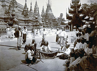 Music of Myanmar - Burmese musicians performing at the Shwedagon Pagoda in 1895.