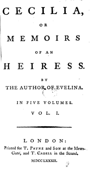 Cecilia (Burney novel) - Title page from the first edition of the first volume of Cecilia