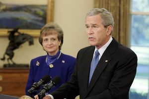 Harriet Miers Supreme Court nomination - Bush with Miers during the announcement of her nomination