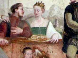 Venetian cuisine - Food and drink have played an important role in Venetian culture for centuries. This image shows a 16th-century fresco in the Villa Caldogno, where some noblemen and noblewomen enjoy merenda, or a mid-afternoon snack, eating bussoli, or typical sweets from Vicenza.