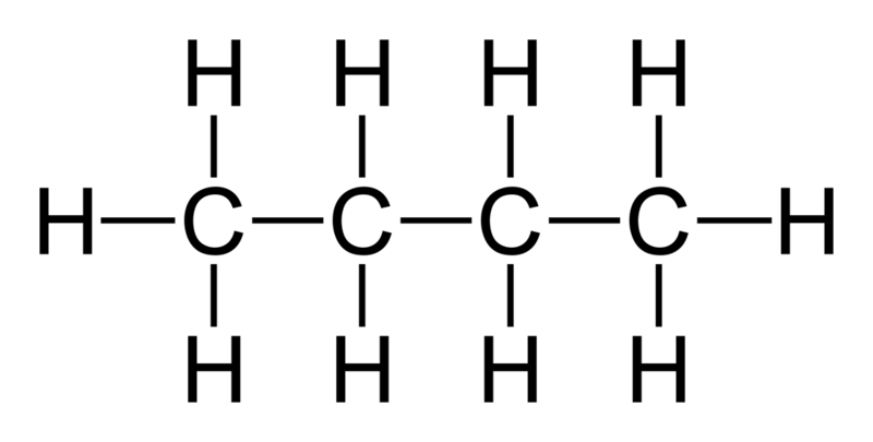 Strukturformeln för butan.